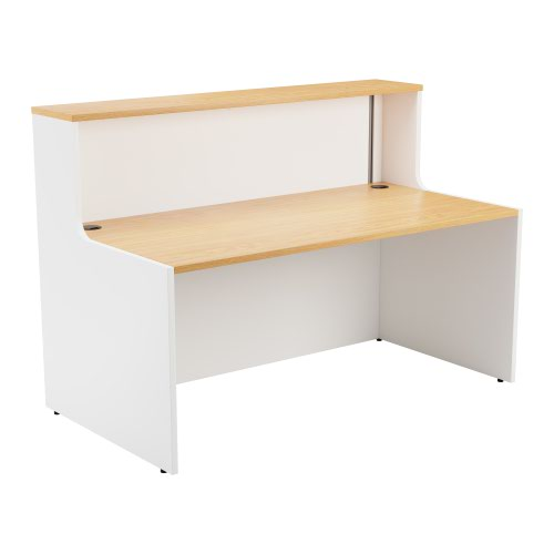 Reception Unit 1400 - White Sides With Nova Oak Top