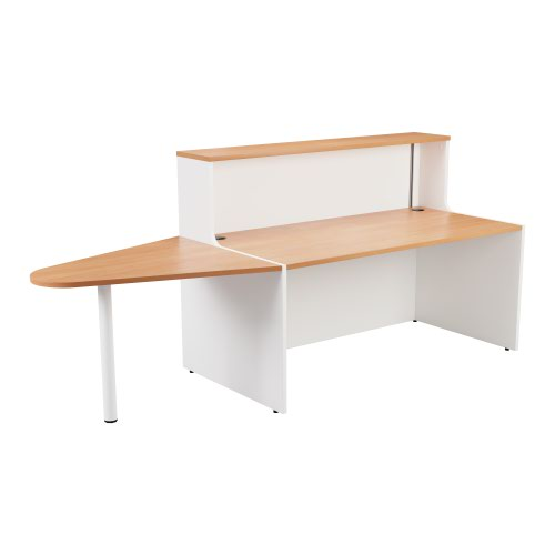 Reception Unit 1600 With Extension - White Sides With Beech Top Version 2