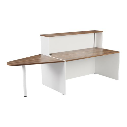 Reception Unit 1600 With Extension - White Sides With Dark Walnut Top