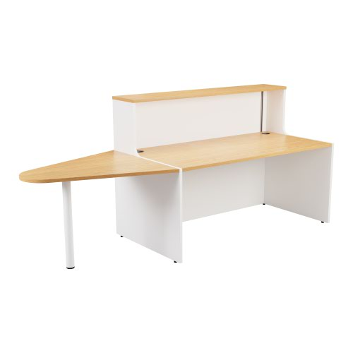 Reception Unit 1600 With Extension - White Sides With Nova Oak Top