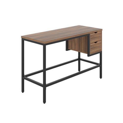 Haynes Desk with 2 Drawers - Black / Dark Walnut