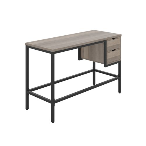 Haynes Desk with 2 Drawers - Black / Grey Oak