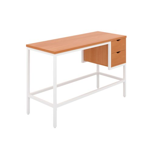 Haynes Desk with 2 Drawers - White / Beech