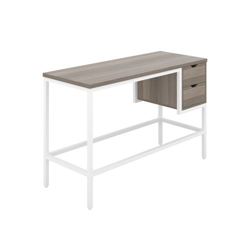 Haynes Desk with 2 Drawers - White / Grey Oak
