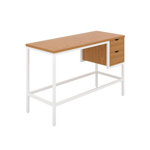 Haynes Desk with 2 Drawers - White / Oak