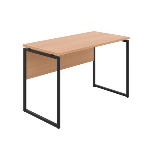 Milton Desk with Square Leg and Modesty - Black / Beech