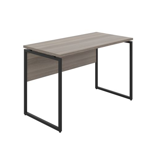 Milton Desk with Square Leg and Modesty - Black / Grey Oak