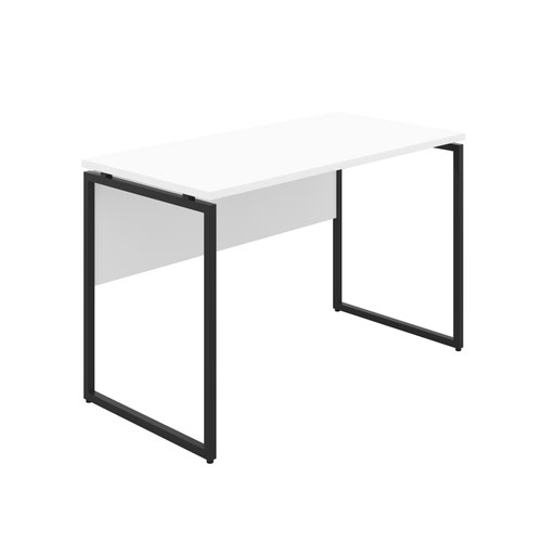Milton Desk with Square Leg and Modesty - Black / White