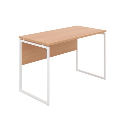 Milton Desk with Square Leg and Modesty - White / Beech