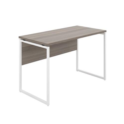 Milton Desk with Square Leg and Modesty - White / Grey Oak
