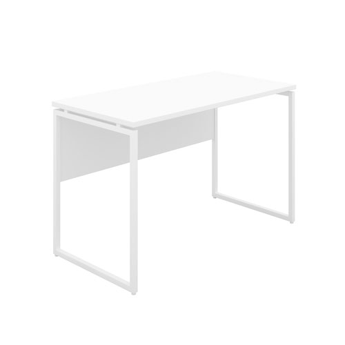 Milton Desk with Square Leg and Modesty - White / White