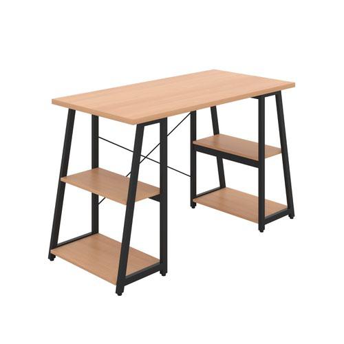 Odell Desk with A-Frame Shelves - Black / Beech