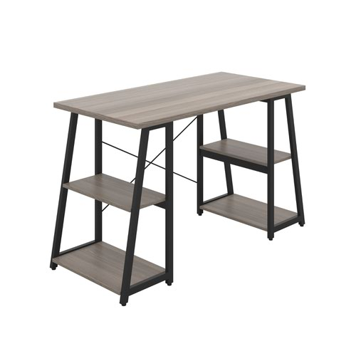 Odell Desk with A-Frame Shelves - Black / Grey Oak
