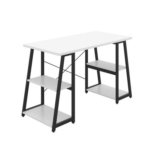 Odell Desk with A-Frame Shelves - Black / White