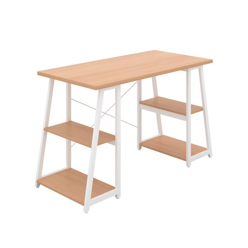 Odell Desk with A-Frame Shelves - White / Beech