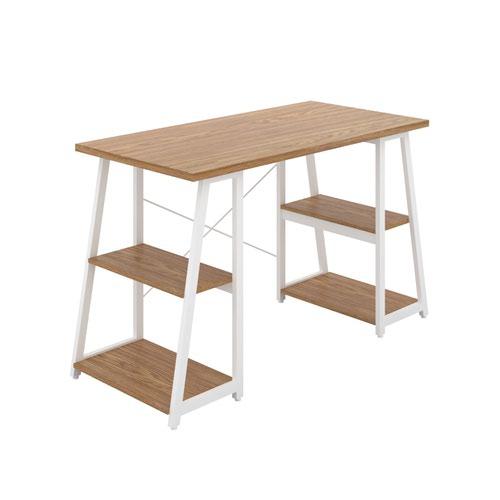 Odell Desk with A-Frame Shelves - White / Oak
