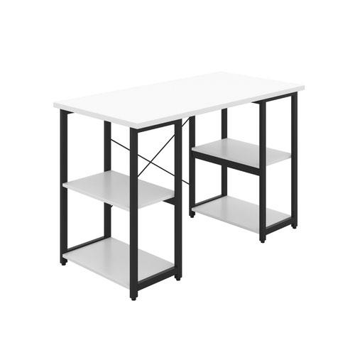 Eaton Desk with Square Shelves - Black / White