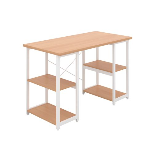 Eaton Desk with Square Shelves - White / Beech