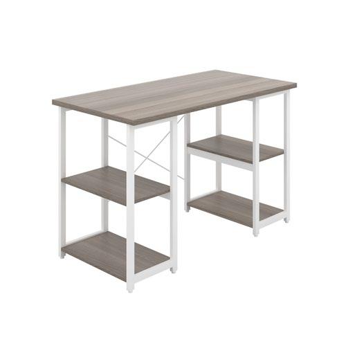 Eaton Desk with Square Shelves - White / Grey Oak