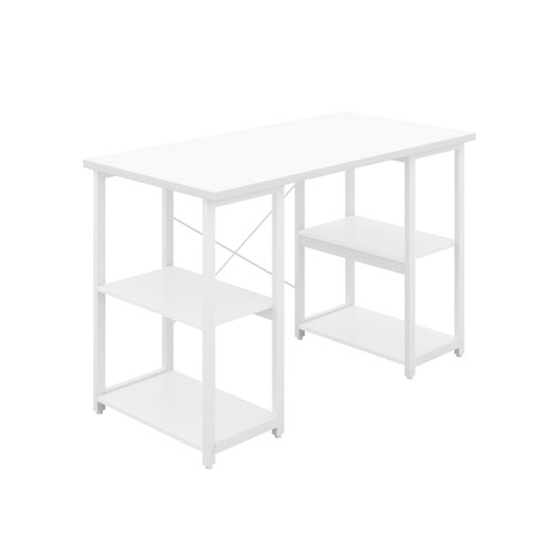 Eaton Desk with Square Shelves - White / White