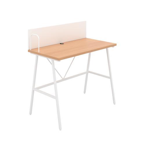 Bilbury A-Frame Desk with Backboard - White / Beech