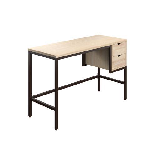 SOHO Home Working Desk with 2 Drawers - Oak / Dark Brown