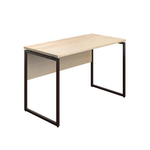 SOHO Home Working Desk with Square Leg and Modesty - Oak / Dark Brown