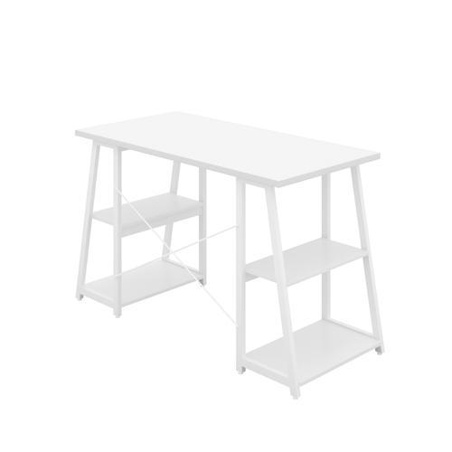 SOHO Computer Desk White W1300mm A-Frame White Leg Shelves KF90860