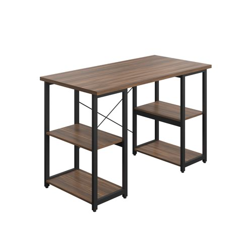 SOHO Home Working Desk with Square Shelves - Dark Walnut / Black