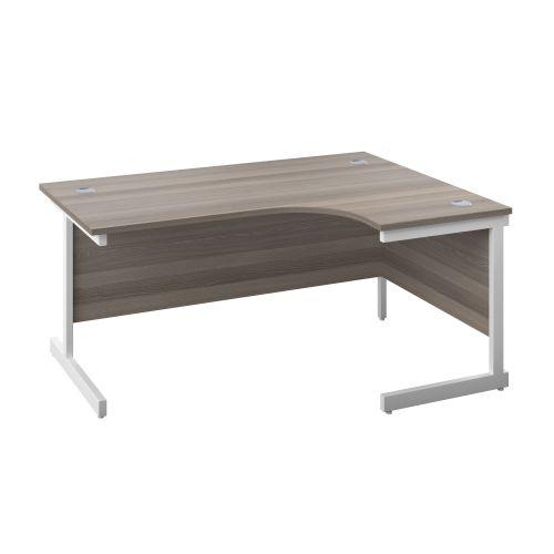 1200X1200 Single Upright Right Hand Radial Desk Grey Oak-White