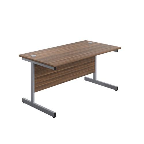 1400X800 Single Upright Rectangular Desk Dark Walnut-Silver + Mobile 3 Drawer Ped