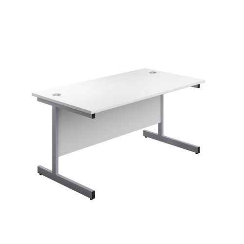 1400X800 Single Upright Rectangular Desk White-Silver + Mobile 2 Drawer Ped