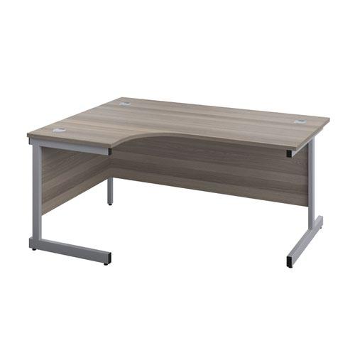 1600X1200 Single Upright Left Hand Radial Desk Grey Oak-Silver + Desk High Ped