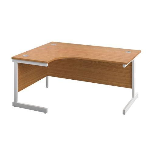 1600X1200 Single Upright Left Hand Radial Desk Nova Oak-White + Desk High Ped