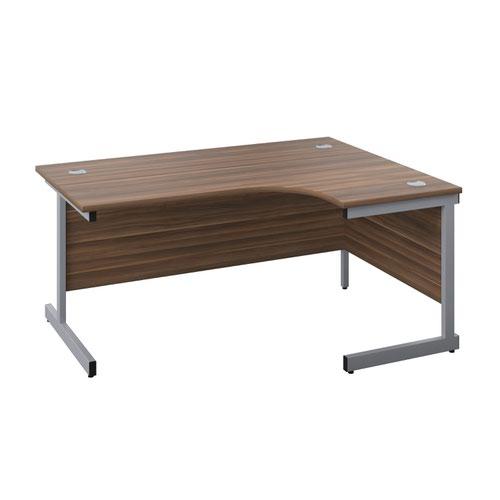 1600X1200 Single Upright Right Hand Radial Desk Dark Walnut-Silver