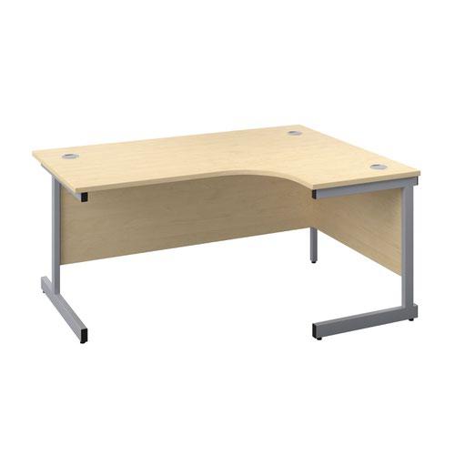 1600X1200 Single Upright Right Hand Radial Desk Maple-Silver