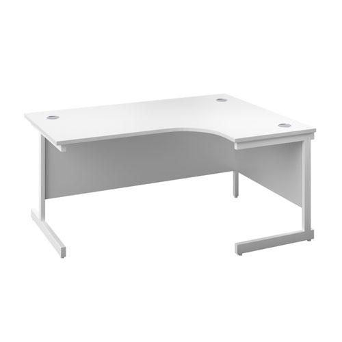 1600X1200 Single Upright Right Hand Radial Desk White-White