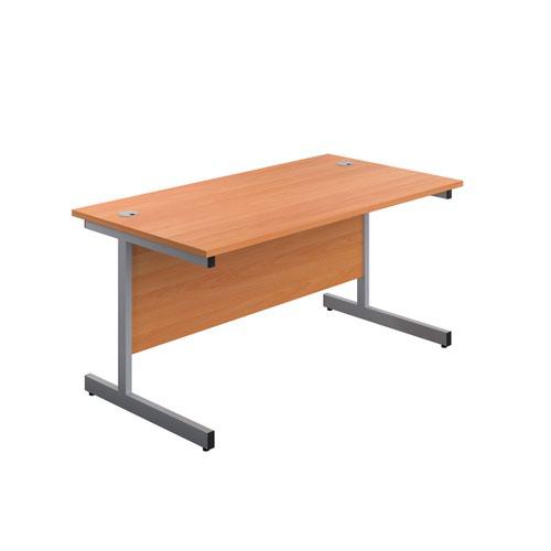 1600X800 Single Upright Rectangular Desk Beech-Silver + Mobile 2 Drawer Ped