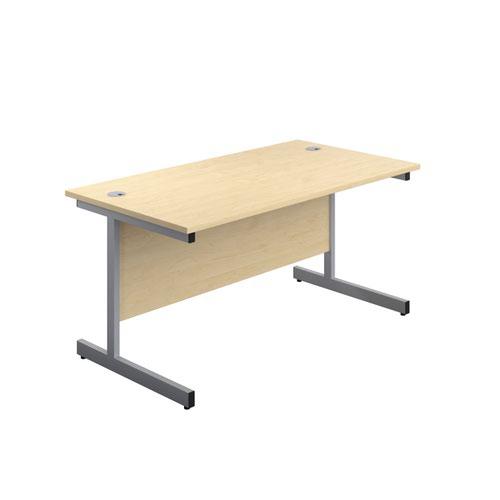 1600X800 Single Upright Rectangular Desk Maple-Silver