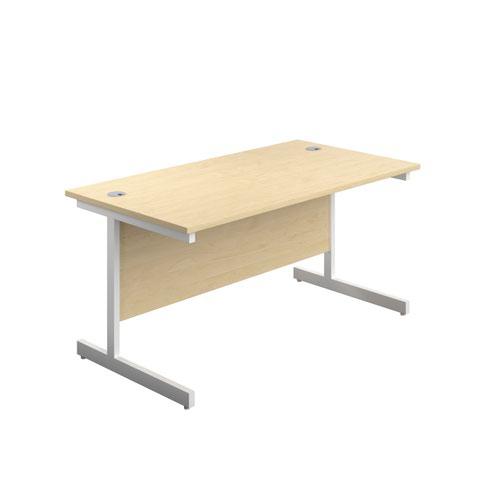 1600X800 Single Upright Rectangular Desk Maple-White + Mobile 3 Drawer Ped