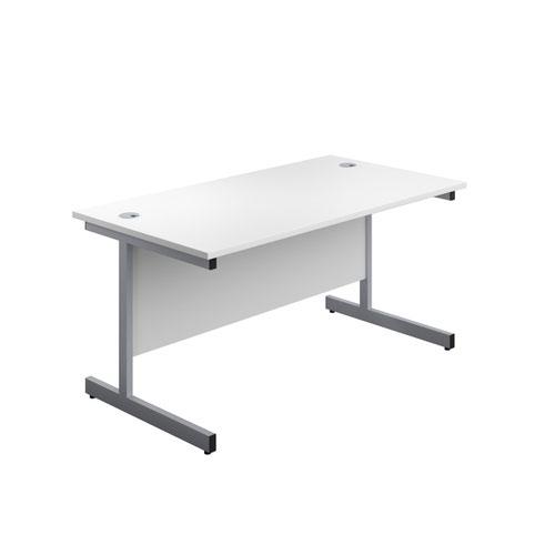 1600X800 Single Upright Rectangular Desk White-Silver + Mobile 3 Drawer Ped