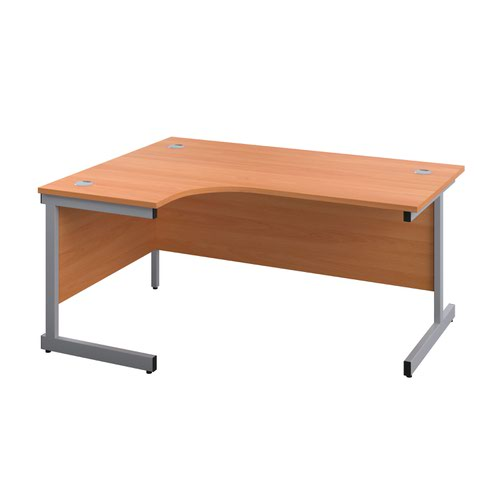 1800X1200 Twin Upright Left Hand Radial Desk Beech-Silver + Desk High Ped