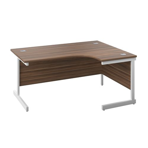1800X1200 Twin Upright Right Hand Radial Desk Dark Walnut-White + Desk High Ped