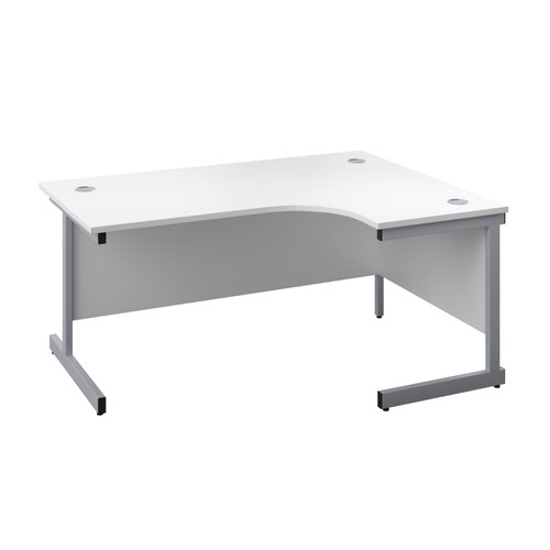 1800X1200 Twin Upright Right Hand Radial Desk White-Silver + Desk High Ped