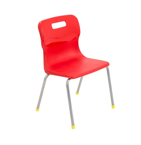 Titan 4 Leg Chair 350mm Red (Conforms to BS EN1729 Parts 1 and 2) KF72179