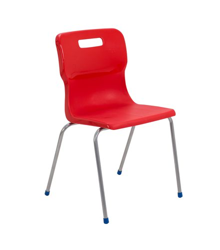 Titan 4 Leg Chair 460mm Red (Conforms to BS EN1729 Parts 1 and 2) KF72194