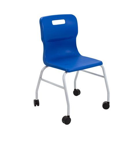 Titan Move 4 Leg Chair With Castors - Blue