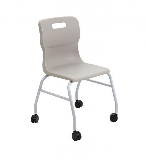 Titan Move 4 Leg Chair With Castors - Grey