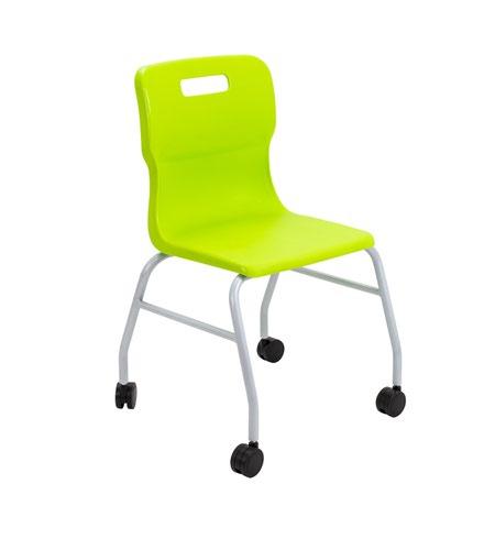 Titan Move 4 Leg Chair With Castors - Lime