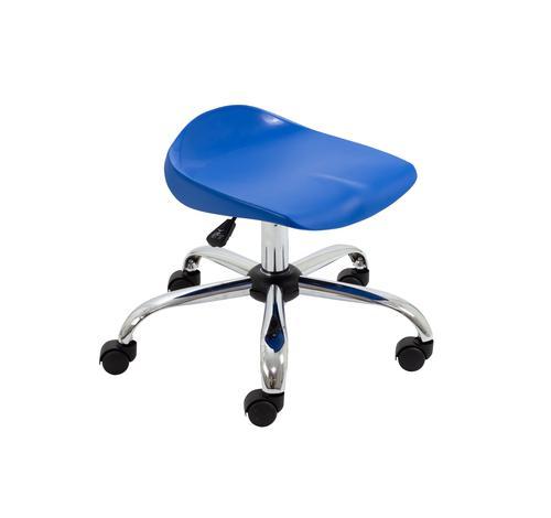 Titan Swivel Junior Stool - 405-475mm Seat Height - Blue With Castors